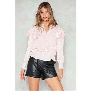 🆕 Light Pink Satin Ruffle Peplum Blouse